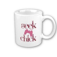 Geek chick coffee mugs by Gigglesandlaughs