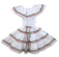 Mexican dress for girls in 3 colors. Ideal dress for your fiesta. Poncho Mexican, Mexican Blouse, Mexican Outfit, Traditional Mexican Dress, Traditional Dresses, Mexican Fiesta Dresses, Short Mini Dress, Two Piece Outfit, Dress For You