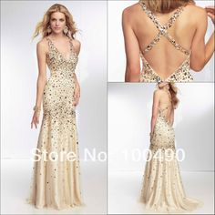 Find More Prom Dresses Information about Daring Deep V neck all over beaded Criss Cross Back sheath Champagne Prom gowns for teenager,High Quality champagne cz,China gown material Suppliers, Cheap gowns for special occasion from Best Dresses Factory on Aliexpress.com