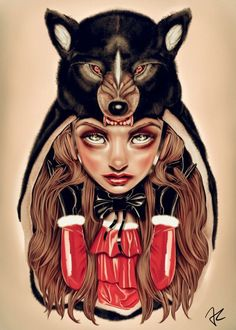 Scary Tales Bad Wolf Poster Lowbrow Art Red Hood Little Red