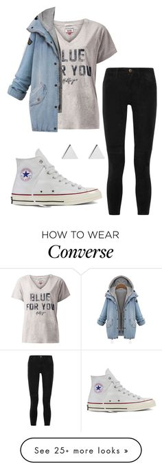 """""""#No name"""" by eemaj on Polyvore featuring Converse, Tommy Hilfiger, Jennifer Meyer Jewelry and Current/Elliott"""