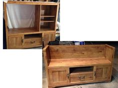 Entertainment center converted to bench seat