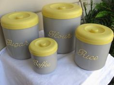 Love the classic yellow/grey combo...paint the glass ones I have....yellow lid in a grey box