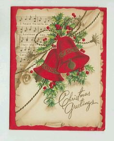 Christmas Bell's 🔔 Vintage Greeting Cards, Christmas Greeting Cards, Christmas Greetings, Vintage Postcards, Christmas Bells, Christmas Art, Christmas Glitter, Christmas Images, Vintage Christmas Wrapping Paper