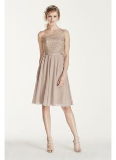 Short One Shoulder Corded Metallic Lace Dress F15711M