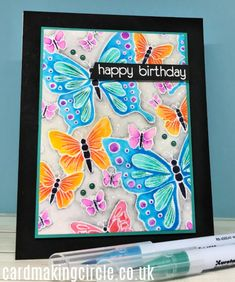 The Outline Butterflies background stamp from Simon Says Stamp. Heat embossed on Bristol smooth paper and water coloured with Zig Clean color markers. Butterfly Background, Butterfly Cards, Make Your Own, Make It Yourself, Whimsy Stamps, Card Making Techniques, Card Making Inspiration, Simon Says Stamp, Stamp Sets