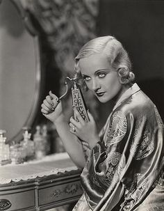Carole Lombard at her vanity