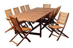 Amazonia Wharton 11Piece Eucalyptus Extendable Rectangular Dining Set *** Click image to review more details.