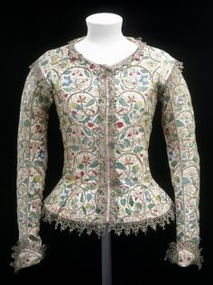 Style Guide: Jacobean - 1610-1615 (made) - 1620 (altered) Linen, embroidered with coloured silks, silver and silver-gilt thread Victoria and Albert Museum