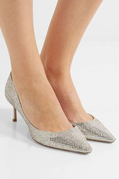 Heel measures approximately 60mm/ 2 inches Gold and silver glittered leather Slip on  Designer color: Champagne  Made in Italy