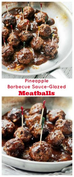 Homemade Meatballs prepared with an AWESOME Pineapple Barbecue Sauce! Definitely a family favorite! | #recipe #meatballs