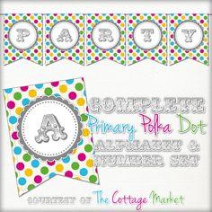 Para imprimir gratis - Party Primary alfabeto entero Polka Dot Banner / Bunting y Números
