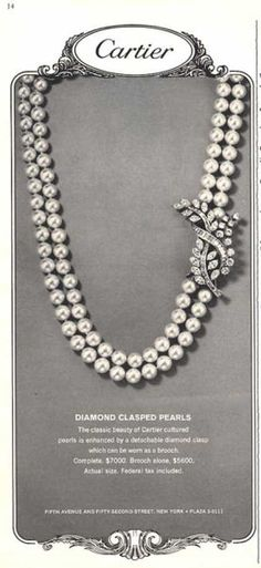 Cartier Diamond Clasped Pearls Necklace Photo (1964)