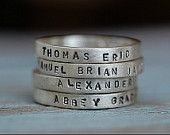 Personalized Hand Stamped Stacking Rings in Sterling Silver-ONE Ring. $32.00, via Etsy.