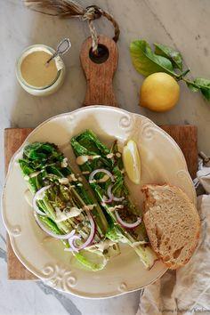 Vegan Caesar Dressing Recipe + the BEST Vegan Caesar Salad Tahini Salad Dressing, Vegan Caesar Dressing, Dressing Recipe, Caesar Salad, Clean Recipes, Whole Food Recipes, Healthy Recipes, Healthy Food, Grilled Romaine Salad