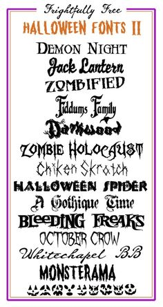 Frightfully Free Halloween Fonts II - Links to fre… - MKS Web Design Halloween Fonts, Holidays Halloween, Halloween Scrapbook, Halloween Signs, Lettering, Typography Fonts, Calligraphy Fonts, Font Art, Fancy Fonts