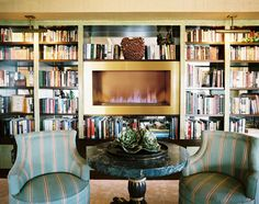 Like the books surrounding the modern fireplace.