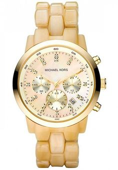 Michael Kors Women's Oversized Horn Watch, Ivory Tone Plastic Link Quartz Chronograph Gold Tone Mother Of Pearl Mk Watch, Gold Watch, Handbags Michael Kors, Coach Handbags, Coach Purses, Michael Kors Watch, Neiman Marcus, Pearls, My Style