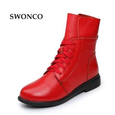 Women's Boots Ankle Boot Genuine Leather Lace Up Winter Boot Ankle Boots For Women Genuine Leather Low Heel Female Shoes - Boots - winter boots Cow Leather, Leather And Lace, Leather Heels, Low Heel Shoes, Low Heels, Shoes Heels, Ankle Boots, Combat Boots, Women's Boots