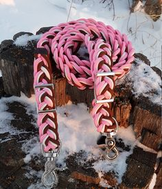 Adjustable Horse Reins 9 Strand Paracord Horse Tack - Pink, Brown and White by BrodsParacord on Etsy