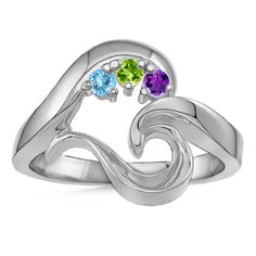 White Gold Mothers Heart Birthstone Ring - add 1 or 3 birthstones to this unique ring.