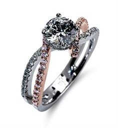 Shop online MARK SILVERSTEIN 2065-18K-WPD Side Stone Rose Gold Diamond Engagement Ring at Arthur's Jewelers. Free Shipping