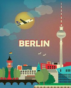 Berlin, Germany Skyline - 8 x 10 Vertical Wall Art Poster Print for Home, Office, and Nursery - style E8-O-BER. $26.00, via Etsy.