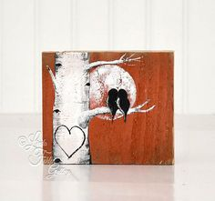 Orange Wedding Gift for Couple Rustic Wood by LindaFehlenGallery