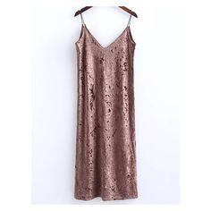 Khaki Slit Velvet Cami Dress ($15) ❤ liked on Polyvore featuring dresses, velvet camisole, khaki dress, cami dress, camisole dress and velvet dress