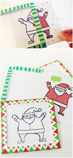 DIY Magic Christmas Card Trick. A fun magic trick that your kids will love to put together and impress their friends and family. Watch Santa peek out from the card and magically appear colored!