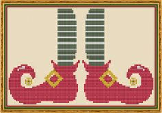 Elf Feet - Counted Cross Stitch Pattern (X-Stitch PDF) Thanks for visiting my store! This cross-stitch pattern was personally and lovingly designed by me! Ive shown this pattern on a background of beige fabric, but you could substitute any color fabric you like. Ive also shown a few