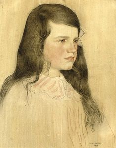 William Strang, peintre écossais (1859-191) Portrait Of A Young Girl