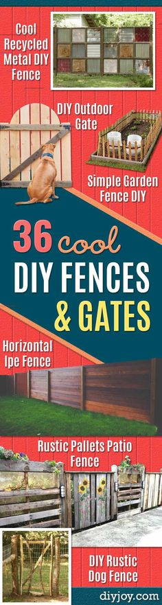 DIY Fences and Gates How To Make Easy Fence and Gate Project for Backyard and - Zaun Ideen Diy Garden Fence, Patio Fence, Brick Fence, Backyard Fences, Diy Garden Decor, Garden Gates, Cedar Fence, Stone Fence, Concrete Fence