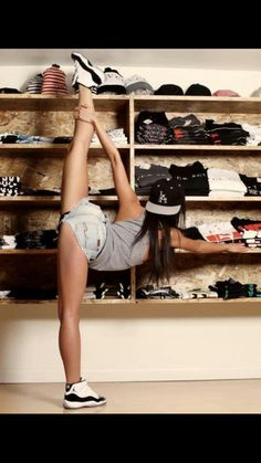 The girl And the collection. Flat bill hats, jordans, flexibility
