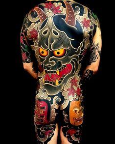 Japanese back tattoo by Japanese Back Tattoo, Japanese Tattoos For Men, Japanese Dragon Tattoos, Traditional Japanese Tattoos, Japanese Tattoo Designs, Japanese Sleeve Tattoos, Backpiece Tattoo, Hanya Mask Tattoo, Irezumi Tattoos