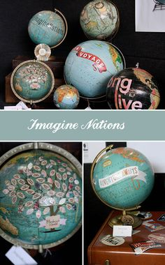 DIY for wedding guests. Guests can sign the leaves and later attach to the glob, especialy if alot of international people attend. love this idea Old Globe, Globe Art, Globe Decor, Map Crafts, Globe Crafts, Travel Crafts, Imagine Nation, Idee Diy, We Are The World