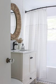 Bathroom Makeover Week 5: The Reveal! See the big reveal of this beautiful farmhouse bathroom makeover! Click for before and after photos and details.