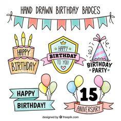Insignias de cumpleaños dibujadas a mano Vector Gratis