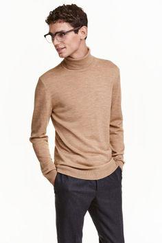 Merino wool polo-neck jumper