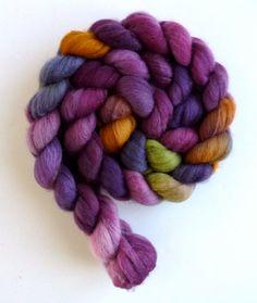 Polwarth/Silk Roving - Hand Painted Spinning or Felting Fiber, Black Zinnias. $22.95, via Etsy.