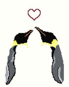 Cross stitch PATTERN set -- Penguin Love set of 4. $5.00, via Etsy.