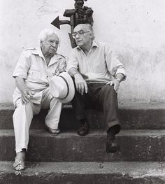 José Saramago e Jorge Amado, na casa de Caetano em Salvador- the author of 'Blindness' and 'Tereza Batista Home from the Wars', respectively- two great novels.