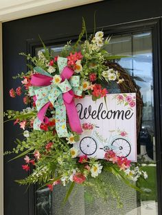 Welcome Summer Pink and White Wreath with Sign, Outside Decor with Bow Wreath Crafts, Diy Wreath, Grapevine Wreath, Wreath Ideas, Poppy Wreath, Floral Wreath, Diy Spring Wreath, Welcome Summer, Deco Wreaths