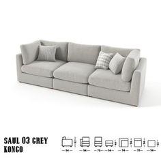 Saul 3 sz kanapé szürke