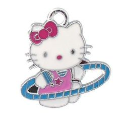 12x DIY Jewelry Making: Hello Kitty Hula Hoop Charm Alloy Ename