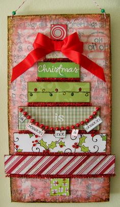 Christmas decorating, wall hanging, mixed media,art