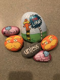 The Lorax painted rocks for Dr. Seuss Week!