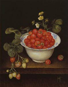 Jose Escofet English Summer Strawberries, gouache on paper 48 x 41 cm, 1988 Strawberry Art, Strawberry Fields, Still Life 2, English Summer, Images Gif, Draw On Photos, Panel Art, Red Berries, Fruit And Veg