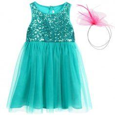 Billieblush - Green Tulle Dress with Sequins & Pink Hairband   Childrensalon