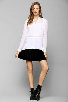 Sparkle & Fade Chiffon-Block Button-Down Shirt